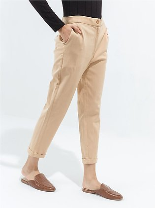 Cropped Stretch Beige Pants