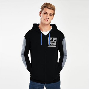Adidas Slim Fit Stretchable Zipper Hoodie For Men-Black with Melange Panel-BE...