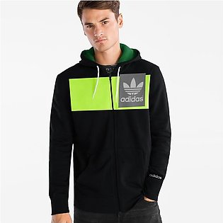 Adidas Slim Fit Stretchable Zipper Hoodie For Men-Black with Lime Green Panel...