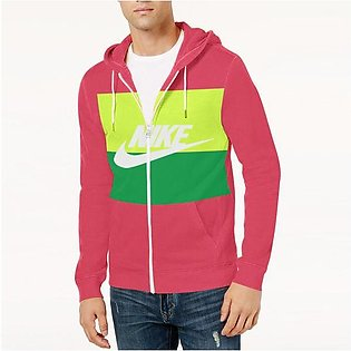 NK Slim Fit Stretchable Zipper Hoodie For Men-Dark Pink with Lime Green & Gre...