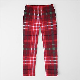 Zara Man Slim Fit Flannel Trouser For Men-Red With Allover Print-SP410