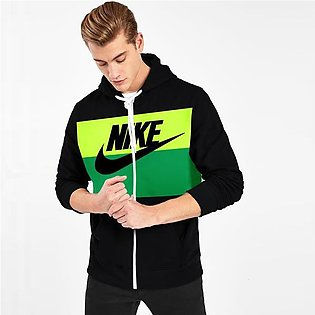 NK Slim Fit Stretchable Zipper Hoodie For Men-Black with Lime Green & Green P...