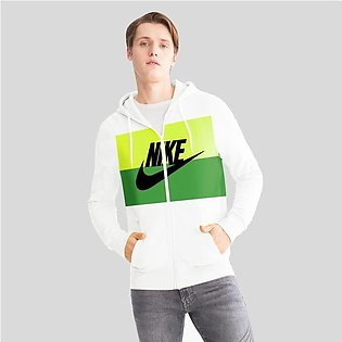 NK Slim Fit Stretchable Zipper Hoodie For Men-White with Lime Green & Green P...
