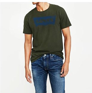 Levis Crew Neck Single Jersey Tee Shirt For Men-Green Faded-NA8727