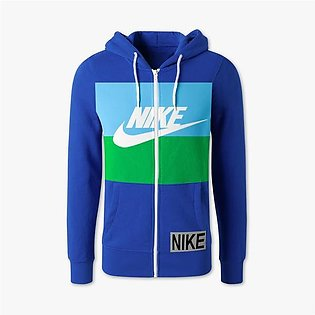 NK Slim Fit Stretchable Zipper Hoodie For Men-Dark Blue with Sky & Green Pane...