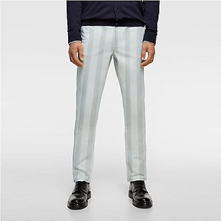 Zara Man Slim Fit Flannel Trouser For Men-Slate Grey with Lining-BE9220