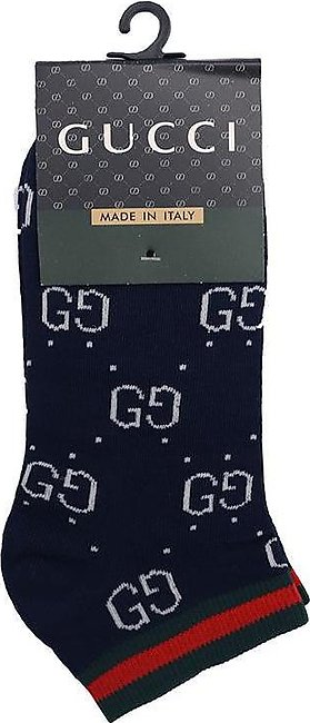 Navy All over Signature Cotton Ankle Socks  (GU-2157)