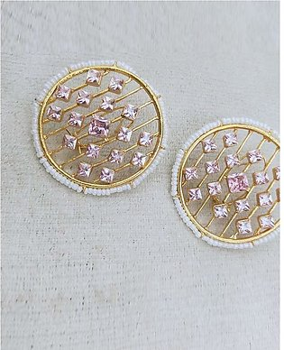beautiful round shape pearl and stone earrings