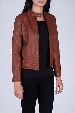 PANELLED LEATHER JACKET