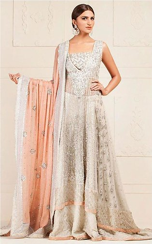 Ivory net fully hand embroidered dress