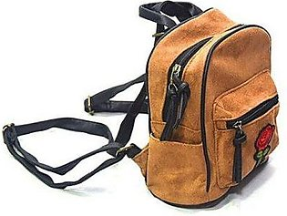 School and College Suede Fabric Bag-Brown