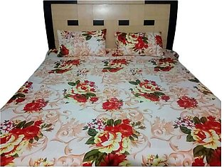 Beautiful Print Double Bed Sheets With 2 Pilow Cover