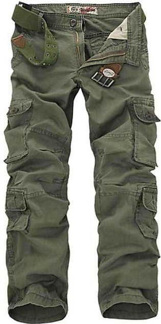 Men's Green Solid Clothing Cargo Pants