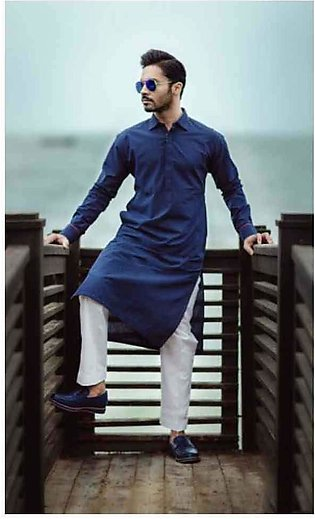 Collar Style Navy Blue Kurta Shalwar For Men