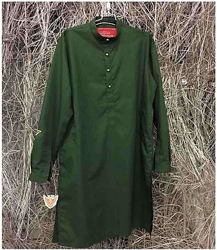 Men's Green Kurta with Stylish Buttons