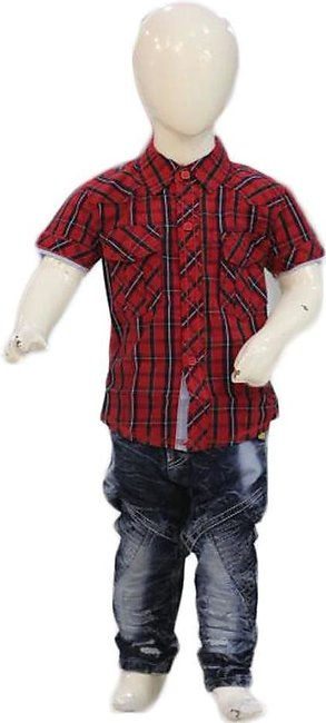 Boys Jeans & Red Shirt Suit