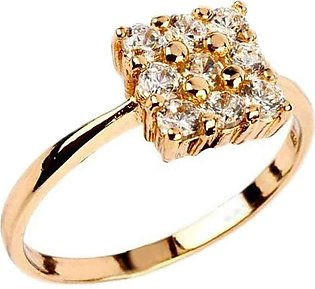 Fashion Café White Zircon Detailed 24 K Gold Plated Decent Ring