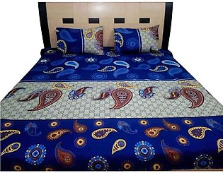 Leaves Print Double Bed Sheets With 2 Pilow Cover
