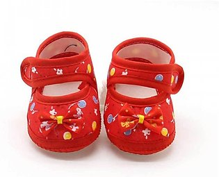 Baby Red Flower Print Shoes