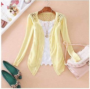 Women's Yellow Lace Crochet Knit Blouse Top Coat Sweater