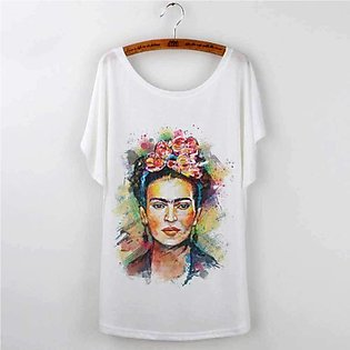 Women's Round Neck White Casual T Shirts