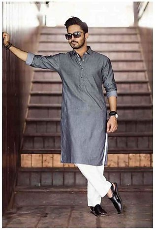 Grey Collar Style Kurta Shalwar For Men
