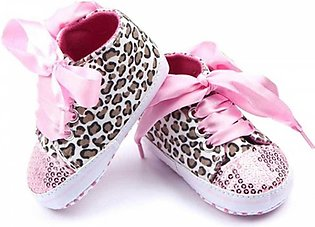 Leapord Print Pink Lace Baby Shoes