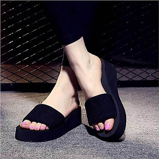 Women's Black Straps Comfy Slippers