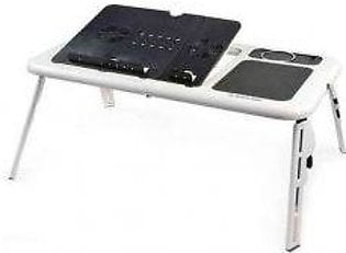 Hanif Electronics E Table With Laptop Cooling Pad White