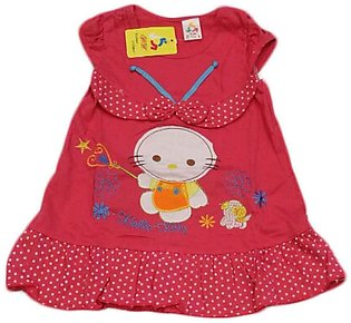 Baby Cartoon Printed Red Frock