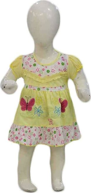 Baby Yellow & Red Embroidered Frock