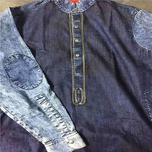 Men's Hand Embroidered Denim Style Kurta