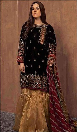 Maria B Bridal Collection Velvet Embroidered Brown Suit
