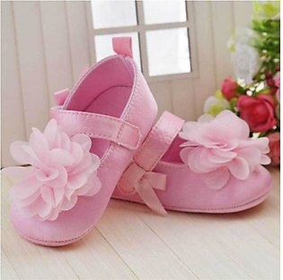 Pink New Born Baby Flower Shoes