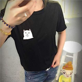 Women's  Round Neck Casual Black T-Shirt