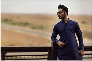 Dark Blue Kurta Shalwar For Men