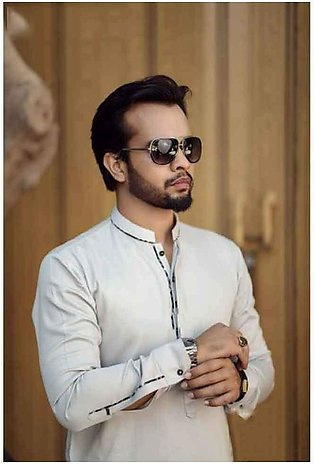 Black Linen With White Kurta Shalwar Men