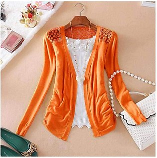 Women's Orange Lace Crochet Knit Blouse Top Coat Sweater