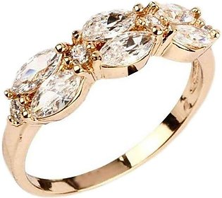 Fashion Café White Rhinestones Decorated 24 K Gold Plated Ring