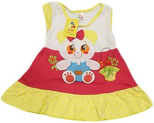 Baby Cartoon Printed Red & Yellow Frock