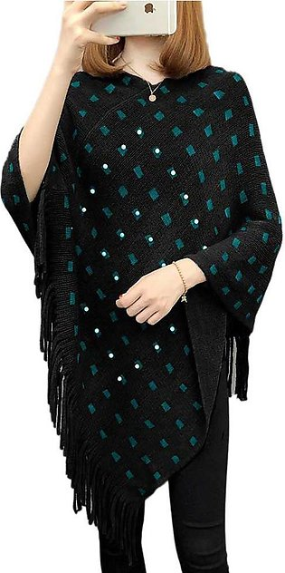 Women's Black And Green Cape Shawls