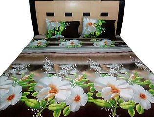 Flowe Print Double Bed Sheets With 2 Pilow Cover