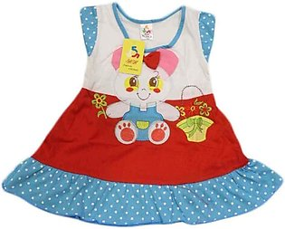 Baby Cartoon Printed Red & Blue Frock