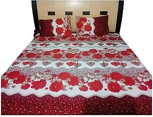 Double Bed Sheets With 2 Pilow Cover Flower Print