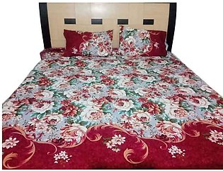 Red Flower Printed Double Bed Sheets With 2 Pilow