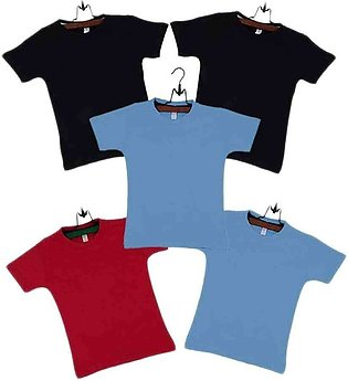Boys Pack of  5 Multicolor Cotton T-shirts