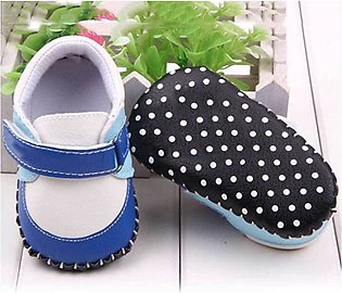 Blue Black Polka Dot Baby Shoes