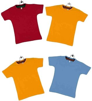 Pack of 4 Cotton Boys Multicolor T-shirts