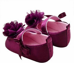 Purple New Born Baby Flower Shoes