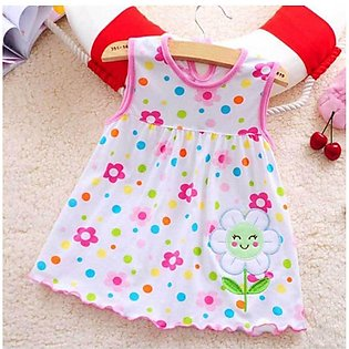 Baby Pink Flower Print Frock